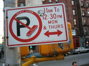 No parking sign, New York City