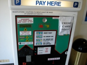 Parking lot payment machine -- Providence airport