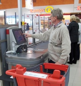 Self-service checkout in a supermarket