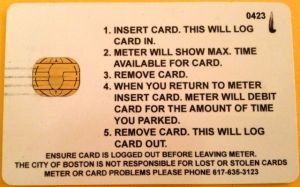 The back of a meter card