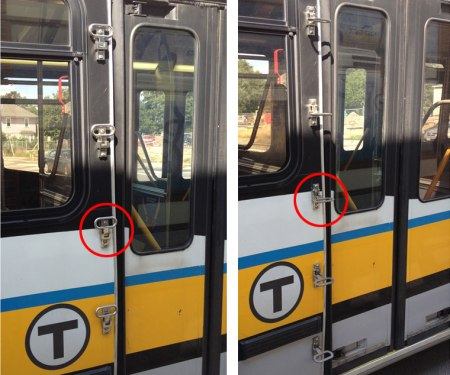 MBTA bus ladder with steps shown opened and closed