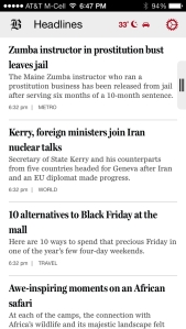 Boston Globe app