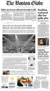 Boston Globe front page