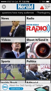 Boston Herald app, iPhone