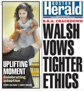 Boston Herald front page, print