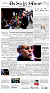New York Times front page - print