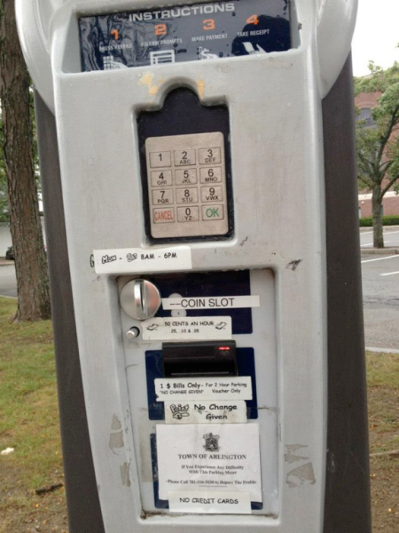 Parking machine in the town lots in Arlington, MA