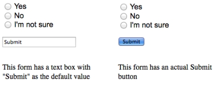 "One form with a text box that says ""Submit"" and one with a Submit button"